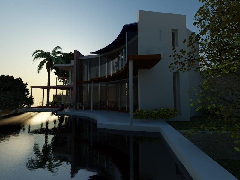 rendering vista notturna bordighera  Villa a Bordighera rendering esterno 1 0089