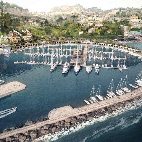 rendering porto di ventimiglia  Porto di Ventimiglia calaDelForte complessivo 480x480  Rendering calaDelForte complessivo 480x480