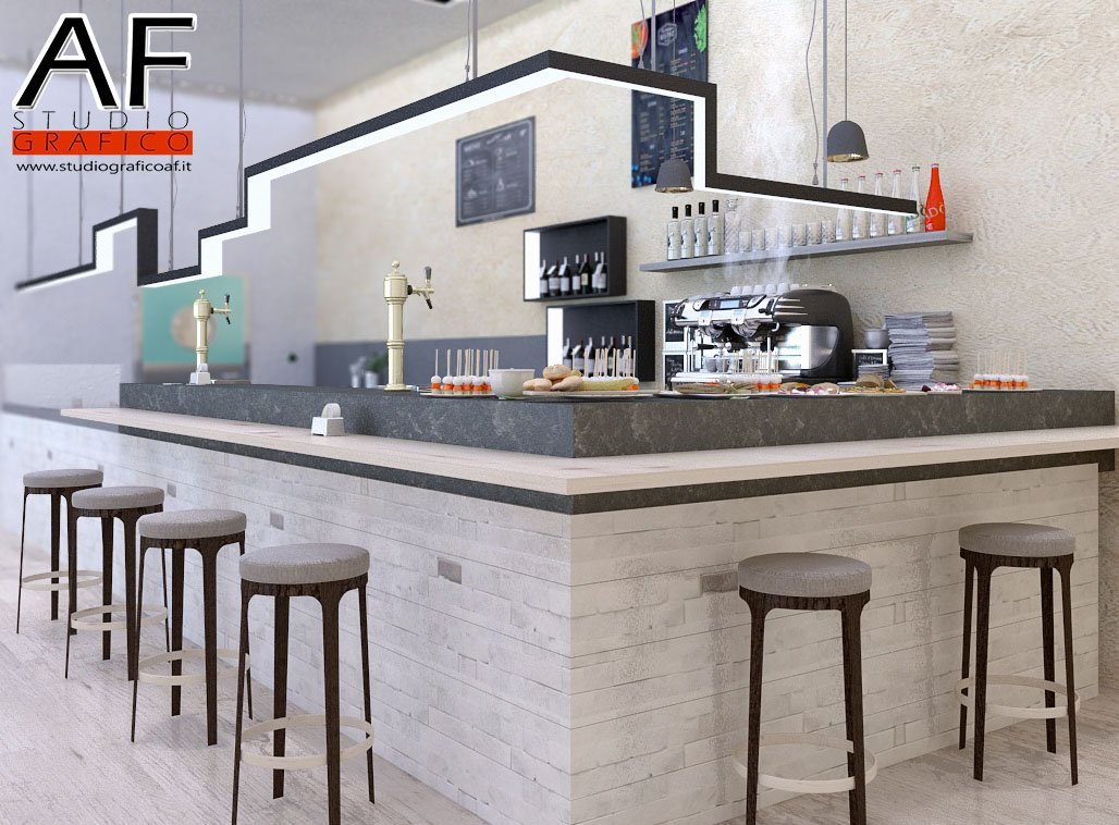 rendering di interni bar ristorante  Rendering Bar ristorante rendering bar 4