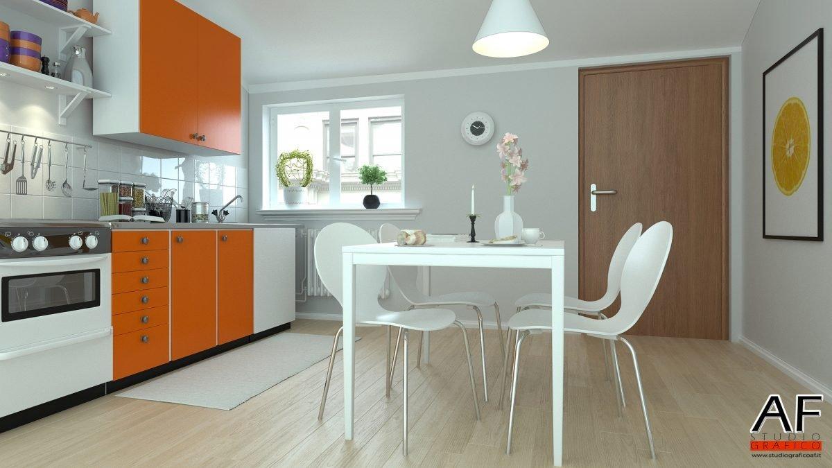 Rendering di interni – Appartamento rendering cucina 1 1200x675